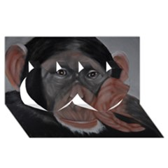 The Thinker Twin Hearts 3D Greeting Card (8x4)