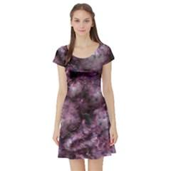 Alien Dna Purple Short Sleeve Skater Dresses