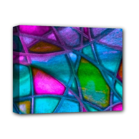 Imposant Abstract Teal Deluxe Canvas 14  x 11