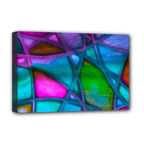 Imposant Abstract Teal Deluxe Canvas 18  x 12