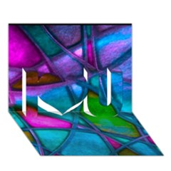 Imposant Abstract Teal I Love You 3d Greeting Card (7x5)