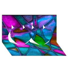 Imposant Abstract Teal Twin Hearts 3d Greeting Card (8x4)
