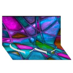 Imposant Abstract Teal Twin Heart Bottom 3D Greeting Card (8x4)