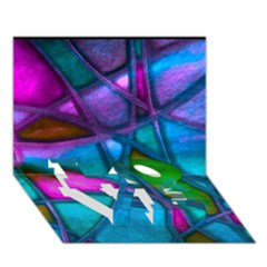 Imposant Abstract Teal LOVE Bottom 3D Greeting Card (7x5)