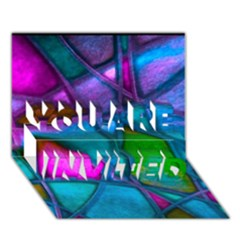 Imposant Abstract Teal You Are Invited 3d Greeting Card (7x5)