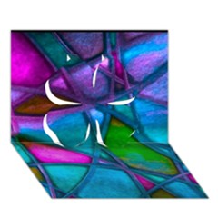 Imposant Abstract Teal Clover 3D Greeting Card (7x5)