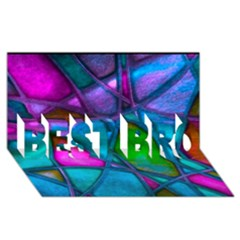 Imposant Abstract Teal Best Bro 3d Greeting Card (8x4)
