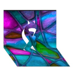 Imposant Abstract Teal Ribbon 3D Greeting Card (7x5)