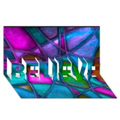 Imposant Abstract Teal BELIEVE 3D Greeting Card (8x4)