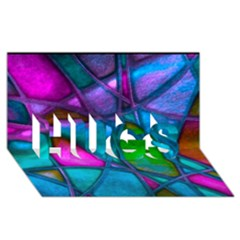 Imposant Abstract Teal HUGS 3D Greeting Card (8x4)