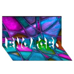Imposant Abstract Teal Engaged 3d Greeting Card (8x4)