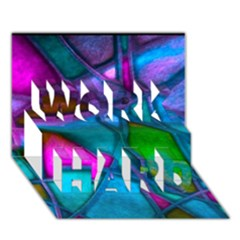 Imposant Abstract Teal WORK HARD 3D Greeting Card (7x5)