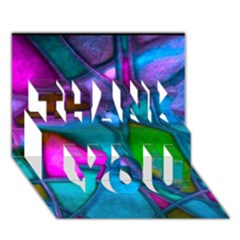 Imposant Abstract Teal THANK YOU 3D Greeting Card (7x5)