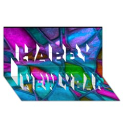 Imposant Abstract Teal Happy New Year 3D Greeting Card (8x4)