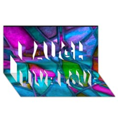Imposant Abstract Teal Laugh Live Love 3D Greeting Card (8x4)