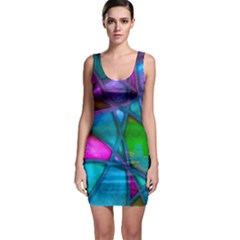 Imposant Abstract Teal Bodycon Dresses