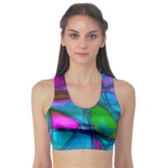 Imposant Abstract Teal Sports Bra