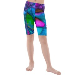 Imposant Abstract Teal Kid s swimwear