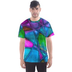 Imposant Abstract Teal Men s Sport Mesh Tees
