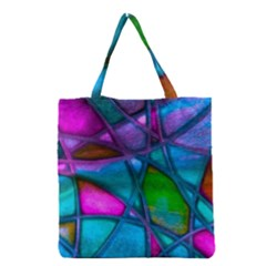 Imposant Abstract Teal Grocery Tote Bags