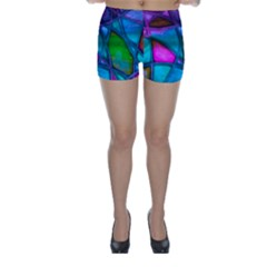 Imposant Abstract Teal Skinny Shorts