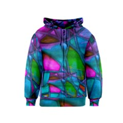 Imposant Abstract Teal Kids Zipper Hoodies