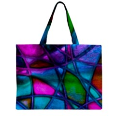 Imposant Abstract Teal Zipper Tiny Tote Bags