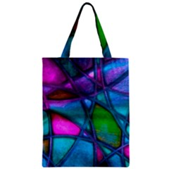 Imposant Abstract Teal Zipper Classic Tote Bags