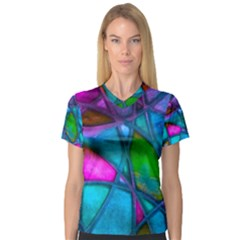 Imposant Abstract Teal Women s V-Neck Sport Mesh Tee