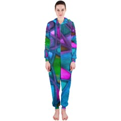 Imposant Abstract Teal Hooded Jumpsuit (Ladies)
