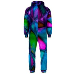 Imposant Abstract Teal Hooded Jumpsuit (men)