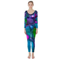 Imposant Abstract Teal Long Sleeve Catsuit