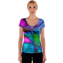 Imposant Abstract Teal Women s V-Neck Cap Sleeve Top