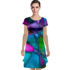 Imposant Abstract Teal Cap Sleeve Nightdresses