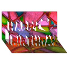 Imposant Abstract Red Happy Birthday 3d Greeting Card (8x4)