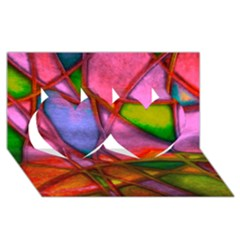 Imposant Abstract Red Twin Hearts 3D Greeting Card (8x4)