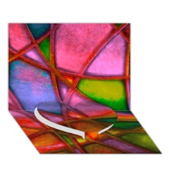 Imposant Abstract Red Heart Bottom 3D Greeting Card (7x5)