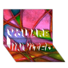 Imposant Abstract Red YOU ARE INVITED 3D Greeting Card (7x5)