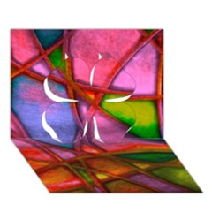 Imposant Abstract Red Clover 3D Greeting Card (7x5)