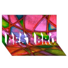 Imposant Abstract Red BEST BRO 3D Greeting Card (8x4)
