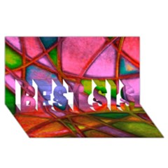 Imposant Abstract Red Best Sis 3d Greeting Card (8x4)