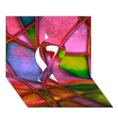 Imposant Abstract Red Ribbon 3D Greeting Card (7x5)