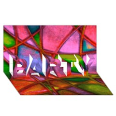 Imposant Abstract Red PARTY 3D Greeting Card (8x4)