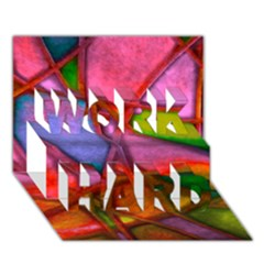 Imposant Abstract Red WORK HARD 3D Greeting Card (7x5)