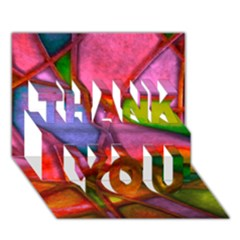 Imposant Abstract Red Thank You 3d Greeting Card (7x5)