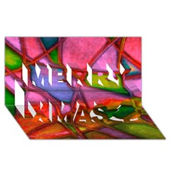 Imposant Abstract Red Merry Xmas 3D Greeting Card (8x4)