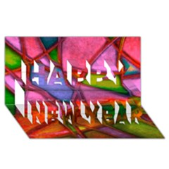 Imposant Abstract Red Happy New Year 3D Greeting Card (8x4)