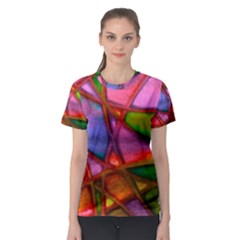 Imposant Abstract Red Women s Sport Mesh Tees