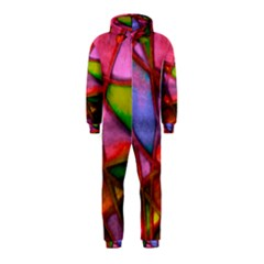 Imposant Abstract Red Hooded Jumpsuit (Kids)