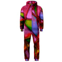 Imposant Abstract Red Hooded Jumpsuit (men)